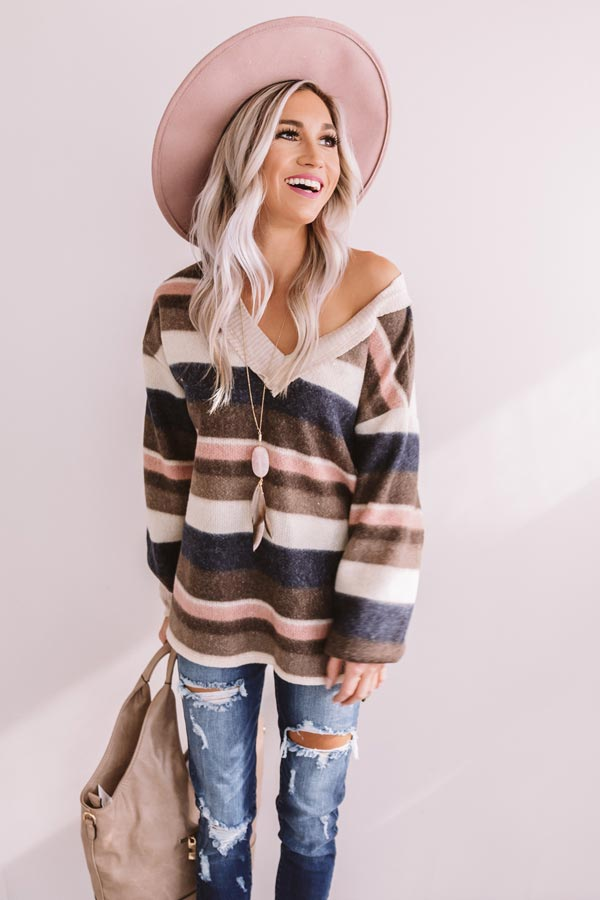 Bliss By The Fire Stripe Sweater In Espresso