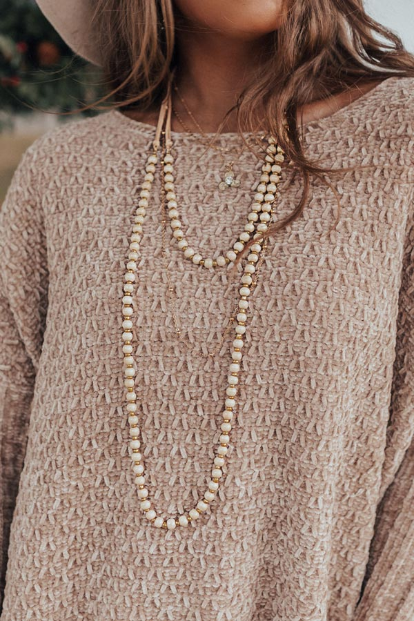 Into The Music Beaded Layered Necklace In Cream