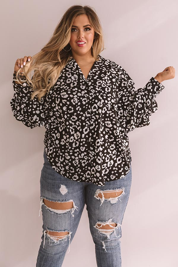 Leave Her Wild Button Up Top In Black