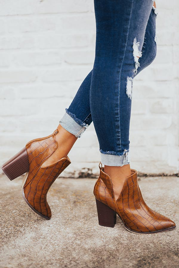 The Florence Faux Leather Bootie in Cinnamon