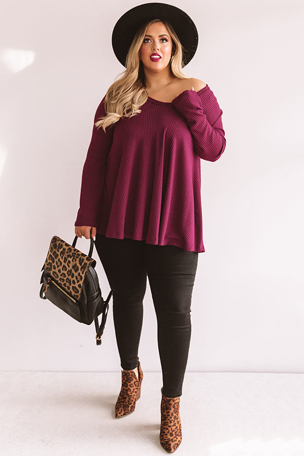 Swipe Up Waffle Knit Shift Top In Maroon