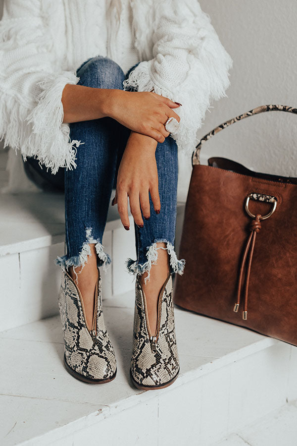 The Mallory Faux Leather Snake Print Bootie