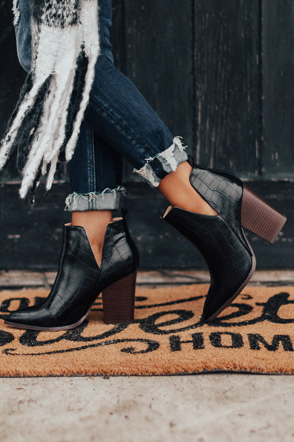 The Florence Faux Leather Bootie in Black