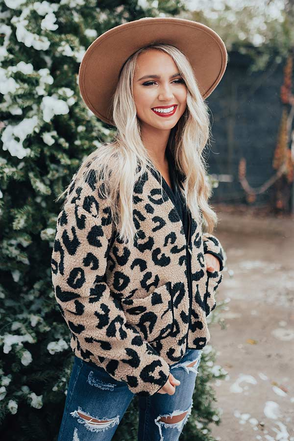 Capture The Moment Leopard Sherpa Jacket
