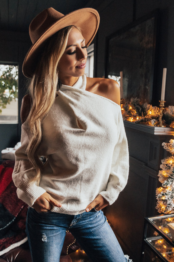 Sweet Embrace Cold Shoulder Sweater In Ivory