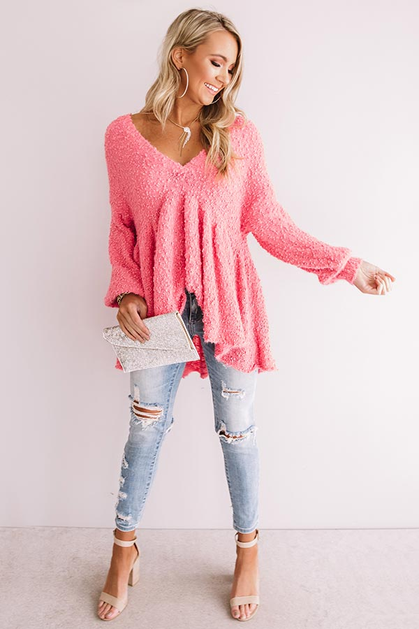 Believing In Magic Babydoll Sweater in Pink