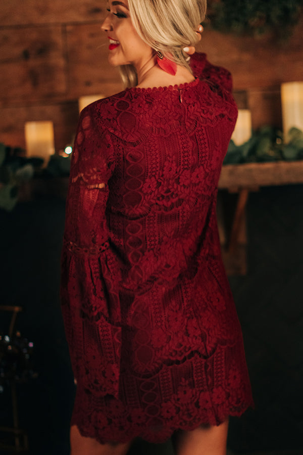 Notorious For Romance Lace Dress in Wine