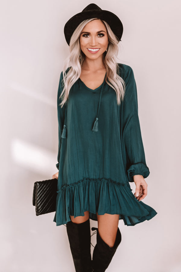 Downtown Elegance Satin Shift Dress in Hunter Green