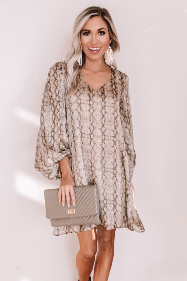 Darling Dance Snake Print Shimmer Shift Dress in Warm Taupe