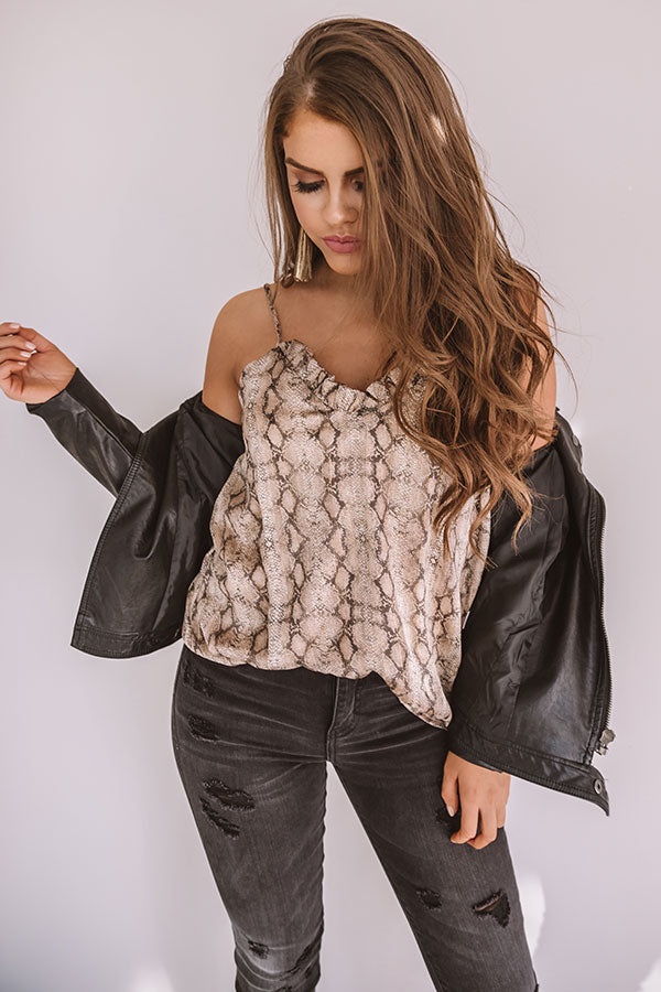 Notorious Flirt Snake Print Shimmer Tank in Warm Taupe