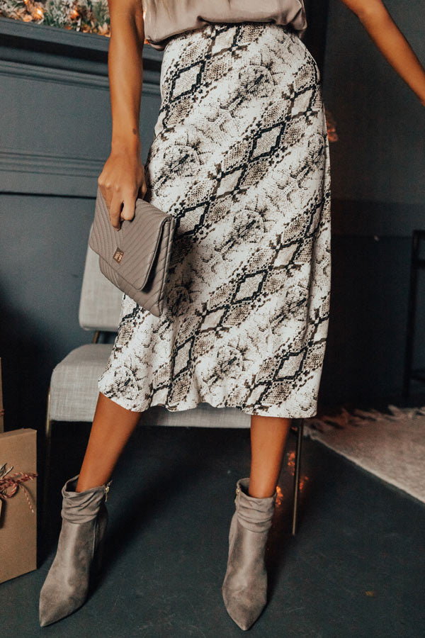 Valley Vibes Snake Print Midi Skirt