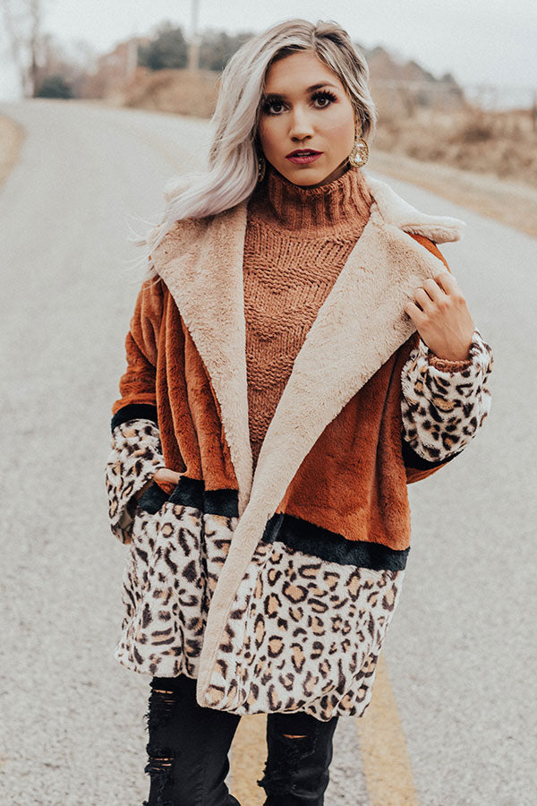 Flurries In Florence Leopard Plush Coat In Cinnamon