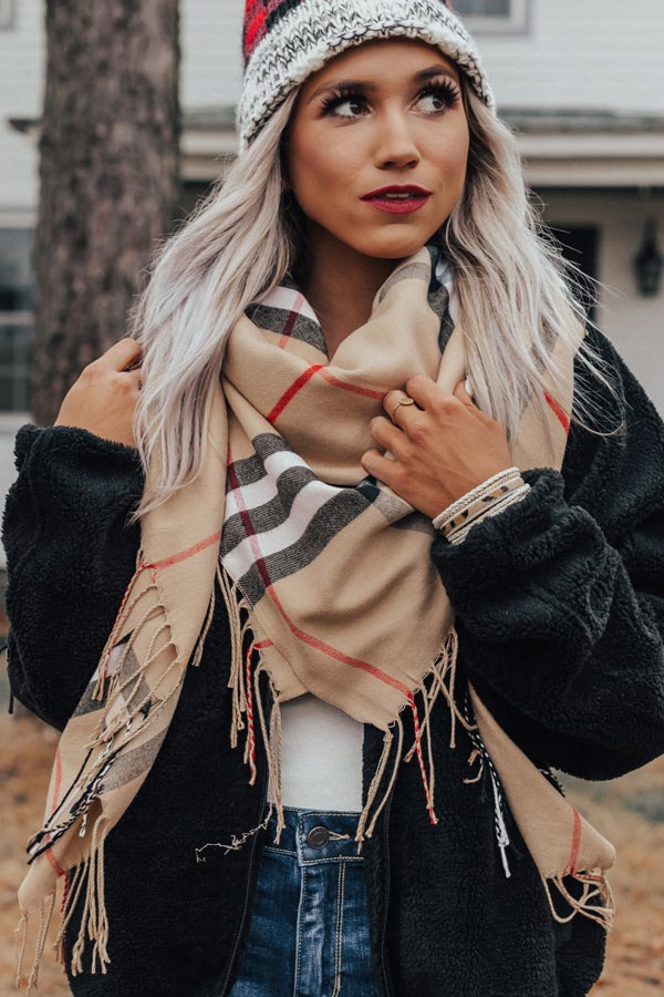 French Alps Plaid Blanket Scarf
