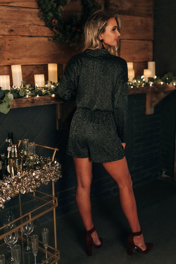 Sparkles In Soho Faux Wrap Romper