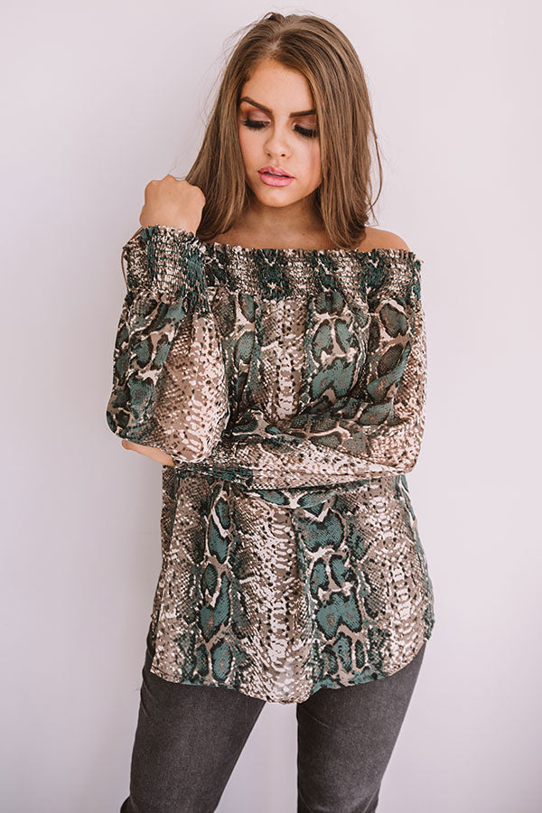 Candlelit Evening Snake Print Shift Top in Taupe