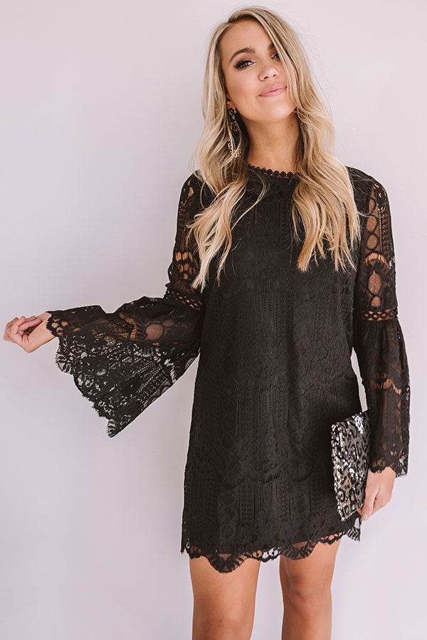 Notorious For Romance Lace Dress in Black