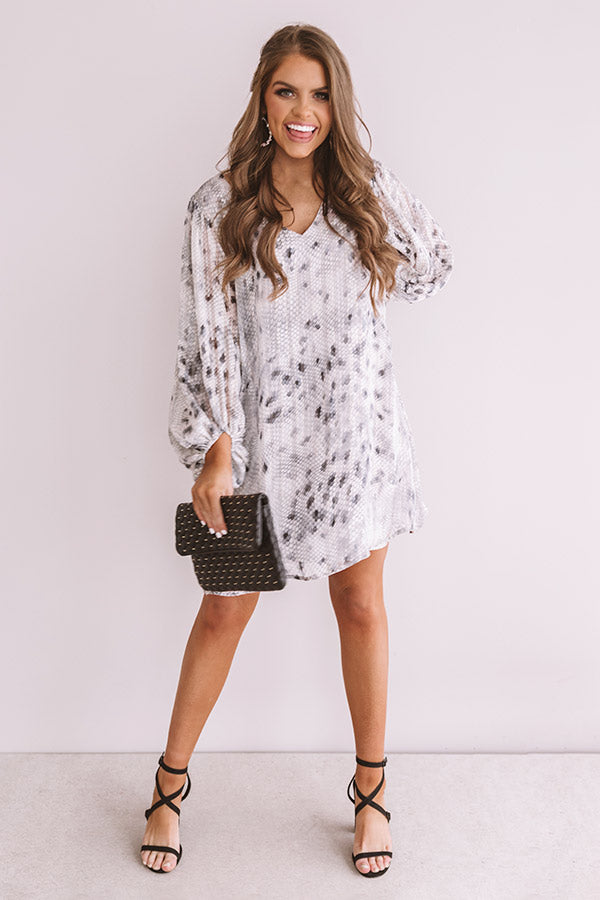 Darling Dance Shimmer Shift Dress in Grey