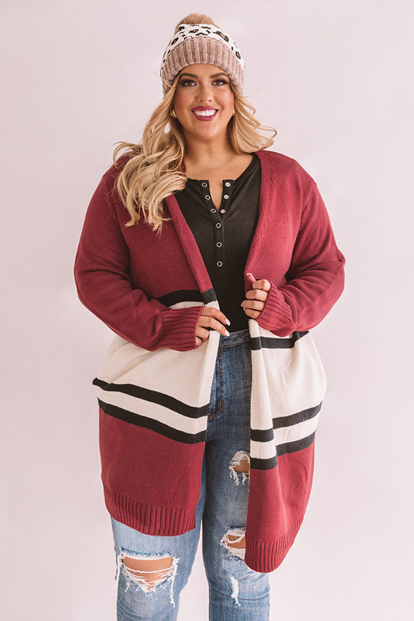 S'mores And Snuggles Cardigan In Berry