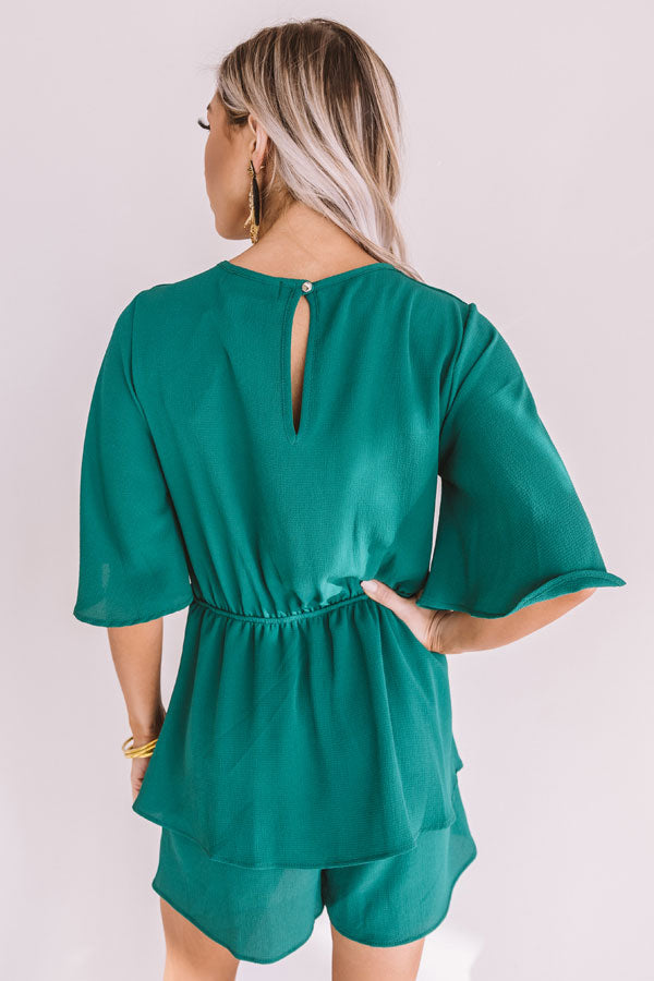 Bubbly Backstage Romper In Hunter Green