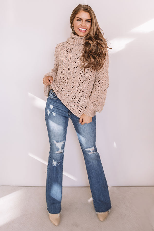 Talk Comfy To Me Chenille Knit Sweater In Iced Latte