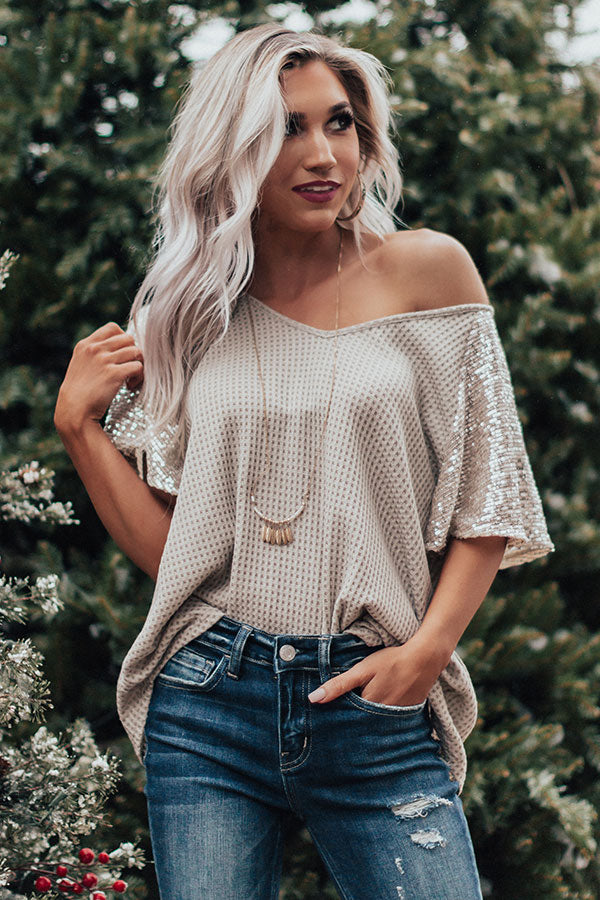 Gleam On Waffle Knit Sequin Top