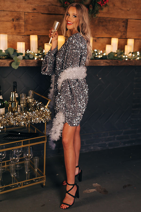Gala Evening Sequin Shift Dress