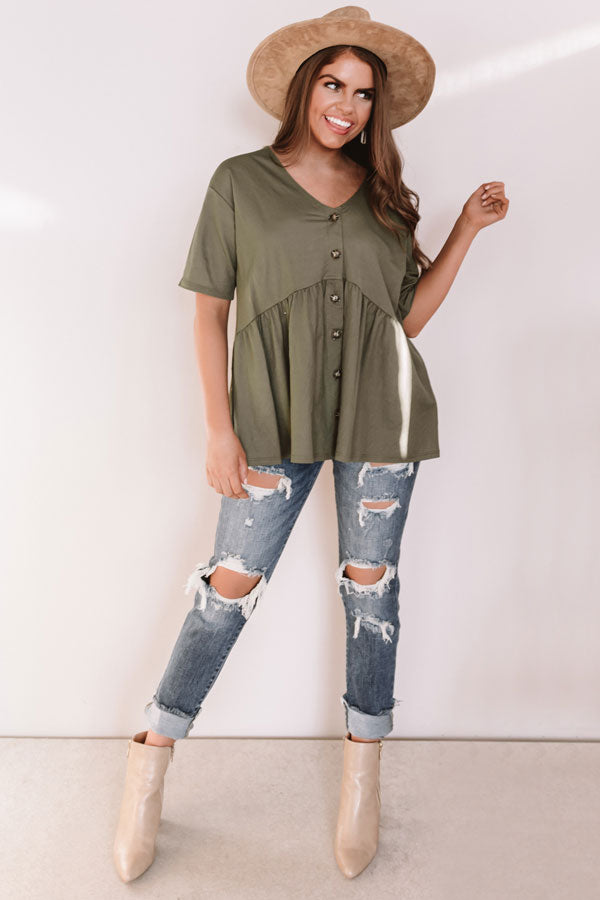 Confidence Calling Babydoll Top In Olive