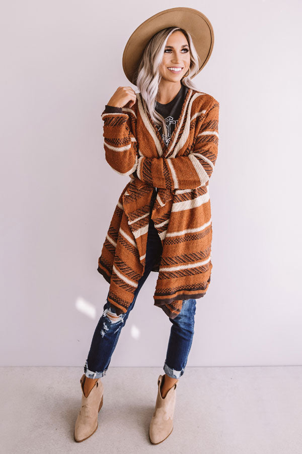 Hello Fall Knit Stripe Cardigan In Cinnamon