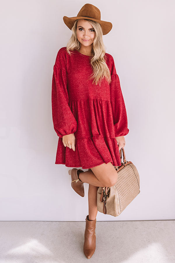 Close To My Heart Shift Dress In Crimson