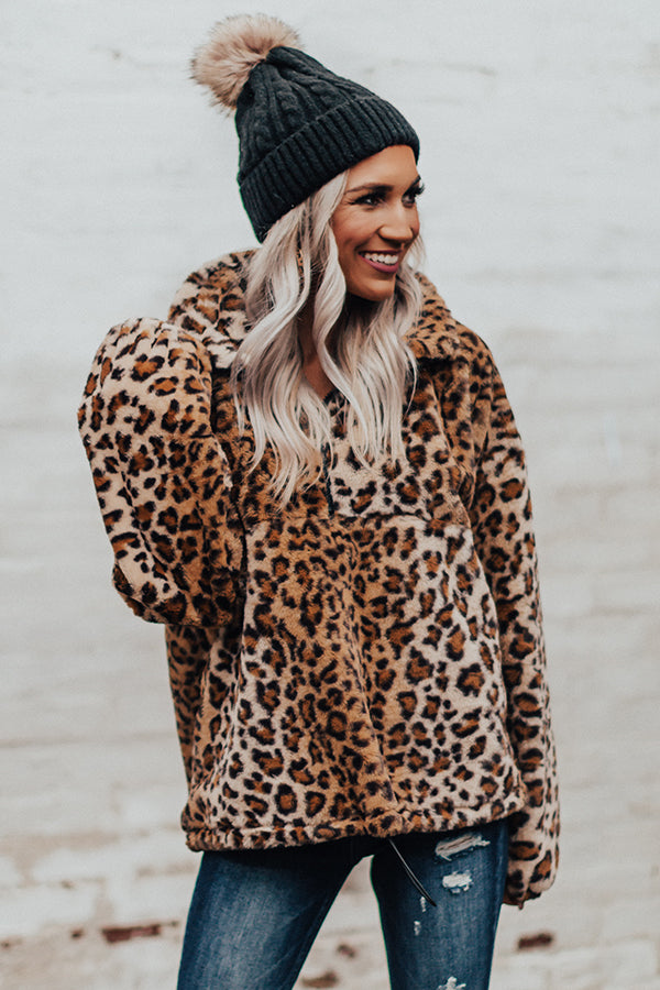 Attention Getter Leopard Plush Pullover