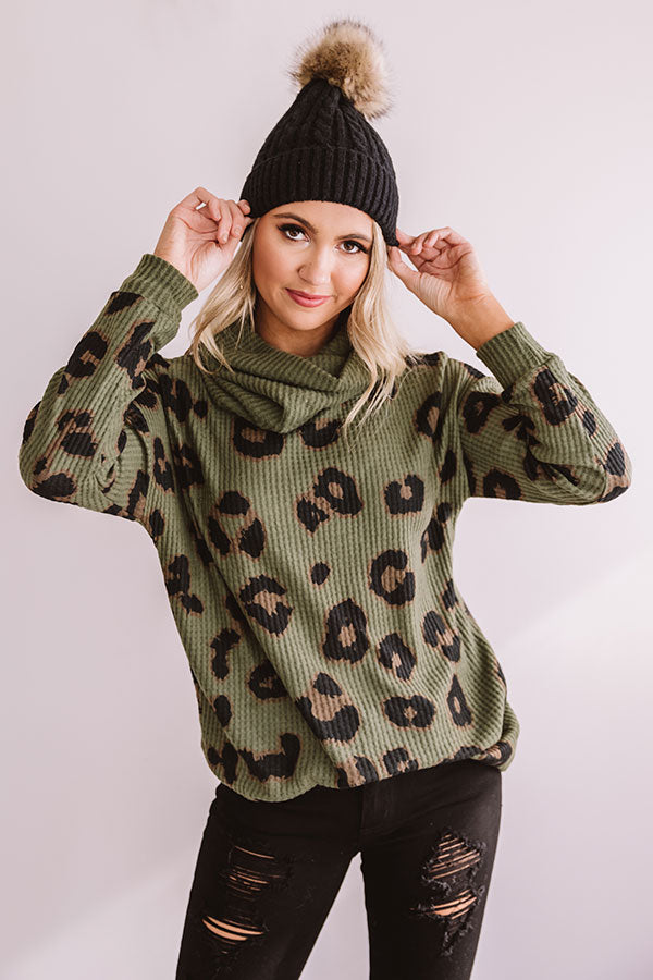 Strike A Pose Leopard Waffle Knit Sweater In Army Green