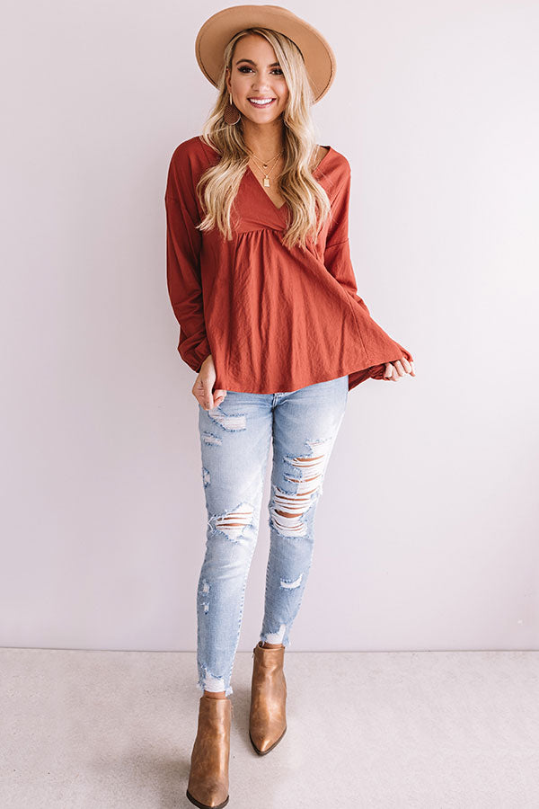 Effortless Love Shift Top In Dark Rust
