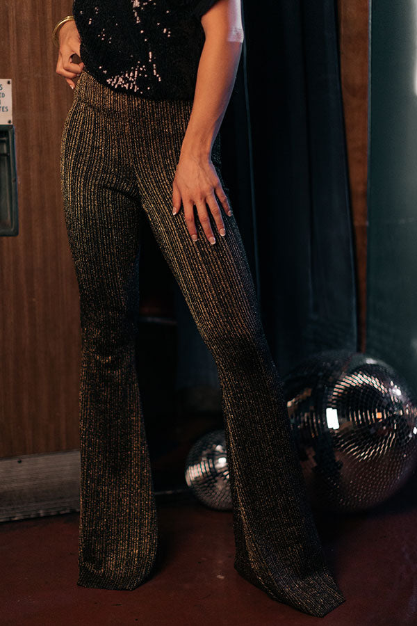 Style Statement High Waist Metallic Flares In Gold