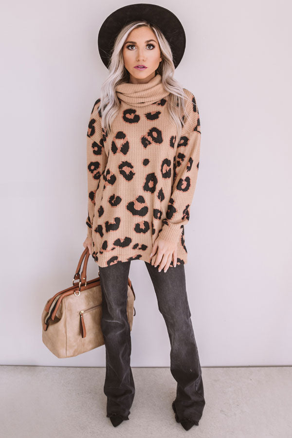 Strike A Pose Leopard Waffle Knit Sweater In Iced Mocha