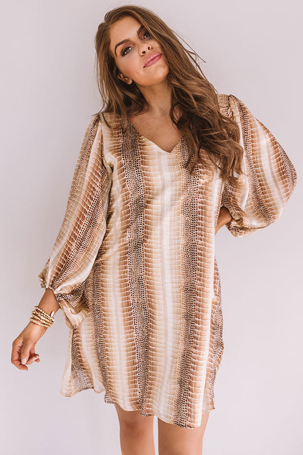 Darling Dance Shimmer Shift Dress in Beige