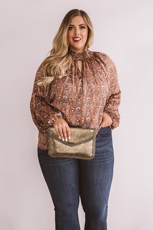 Fancy Flourish Shift Top In Cinnamon
