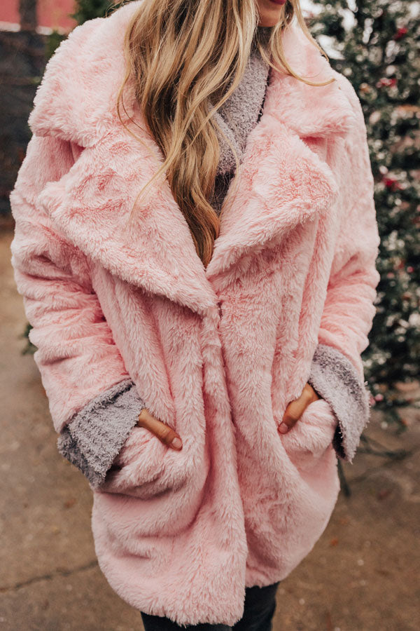 Below Zero Plush Coat In Pink
