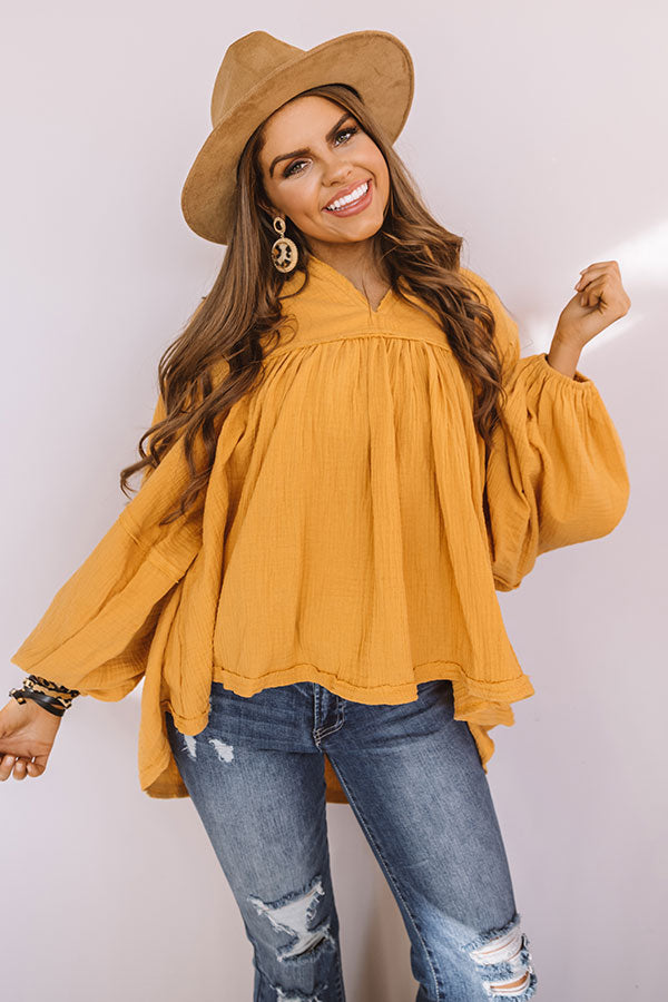 Chic Charms Babydoll Top In Golden Honey