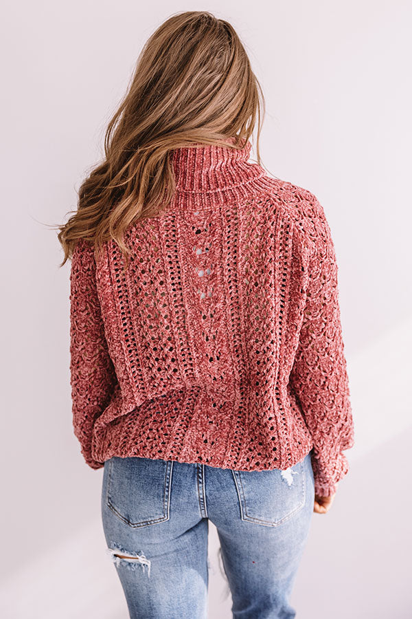 Talk Comfy To Me Chenille Knit Sweater In Rustic Rose
