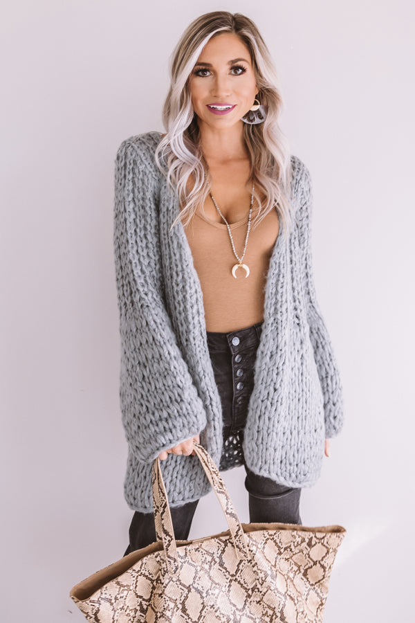 Craving Cozy Chunky Knit Cardigan in Grey
