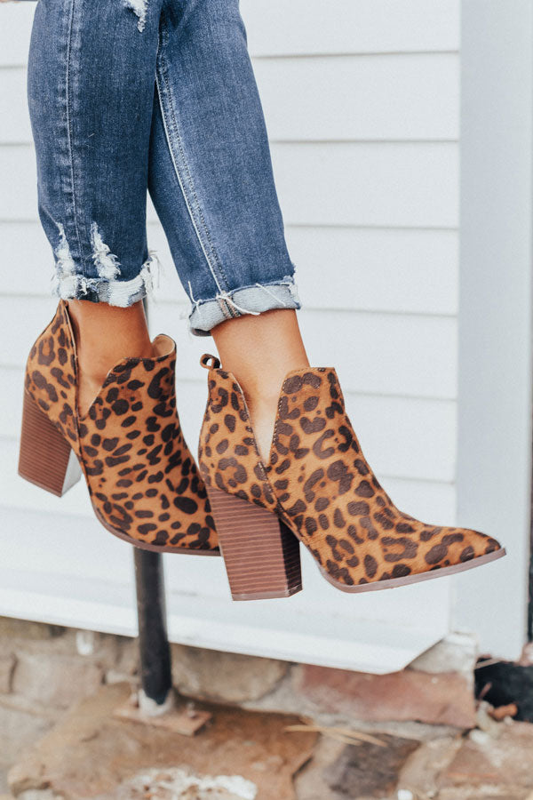 The Florence Faux Suede Leopard Bootie