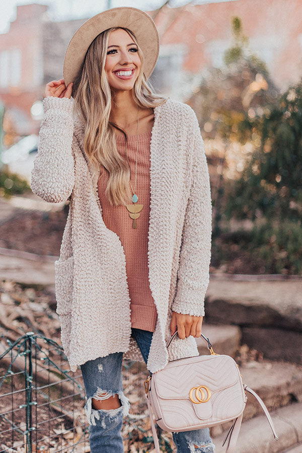 Let's Stay Home Popcorn Knit Cardigan in Iced latte