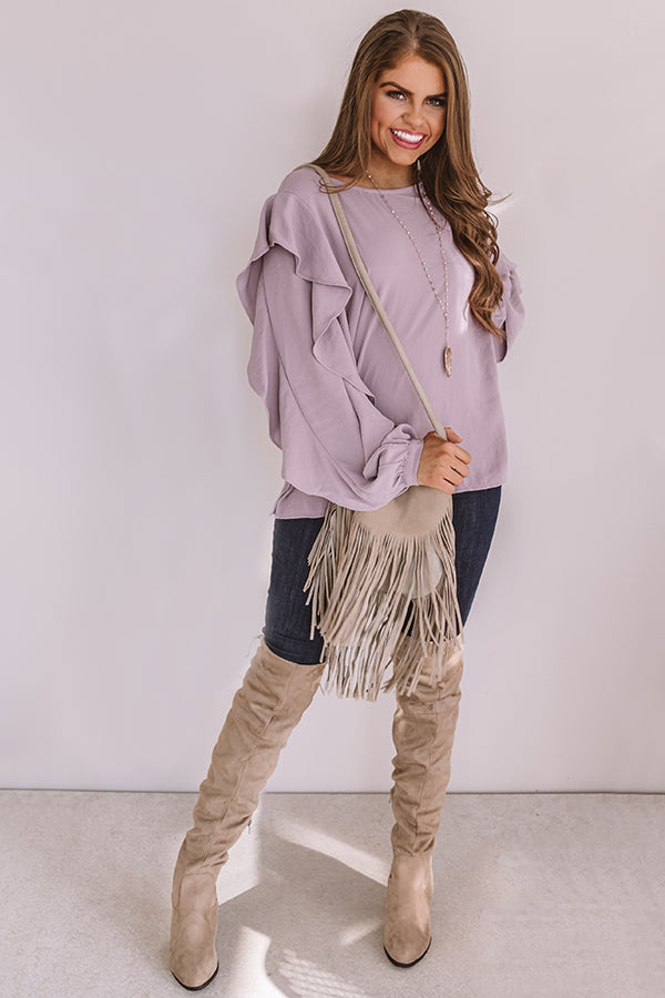 Better With Merlot Ruffle Shift Top In Lavender