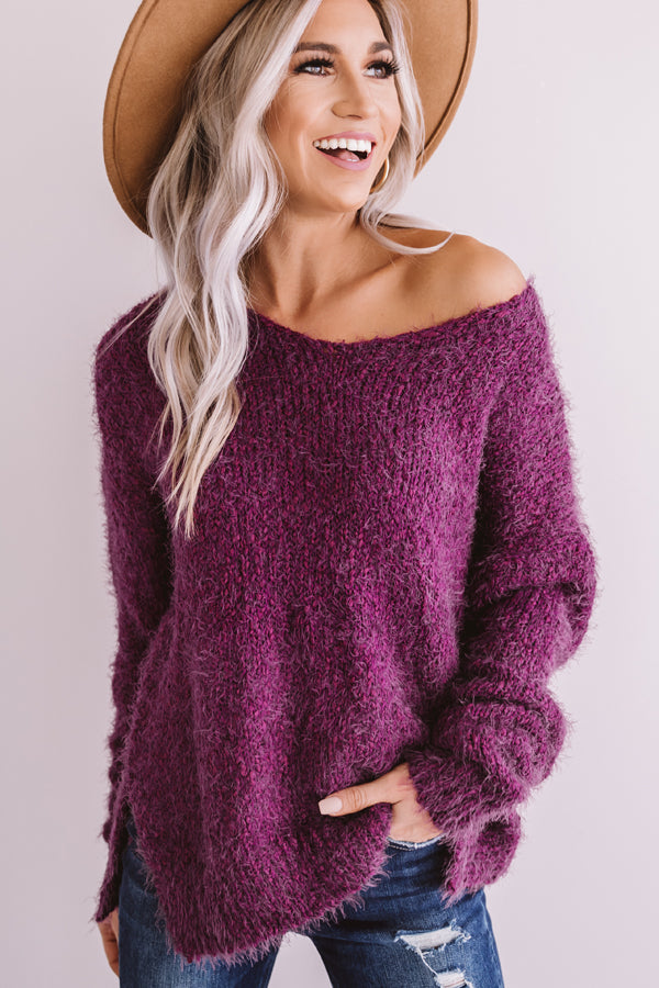 Serious About Snuggles Knit Sweater in Purple
