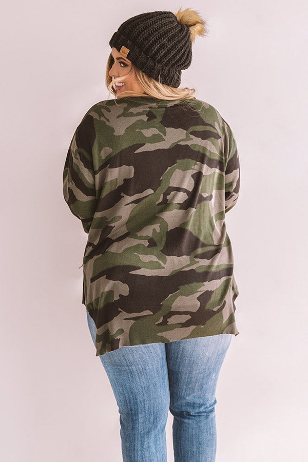 Rock The Room Camo Shift Sweater