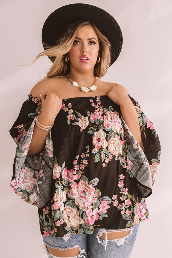 Floral Thrill Off Shoulder Top In Black