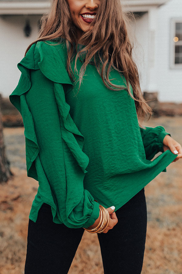 Better With Merlot Ruffle Shift Top in Green