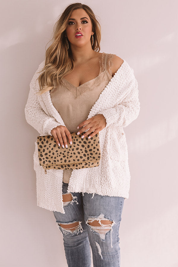 Let's Stay Home Popcorn Knit Cardigan in Ivory