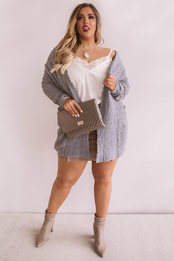 Let's Stay Home Popcorn Knit Cardigan in Grey