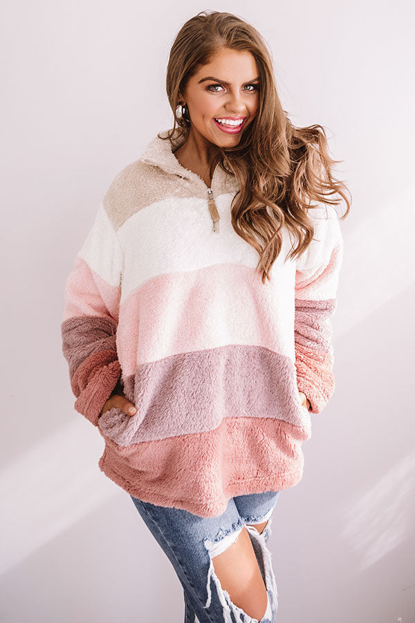 Extended Getaway Colorblock Sherpa Pullover